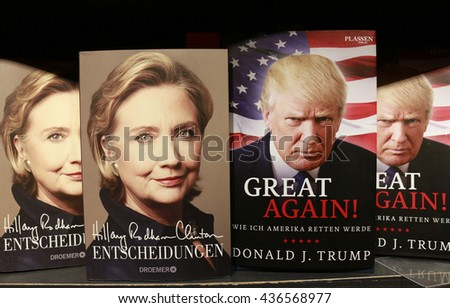 JUNE 2016 - BERLIN: Hillary Clinton and Donald Trump on the covers of an (auto)biographic books - presidential election campaign 2016. - stock photo