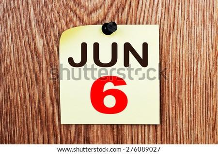 June 6 Calendar. Part of a set - stock photo