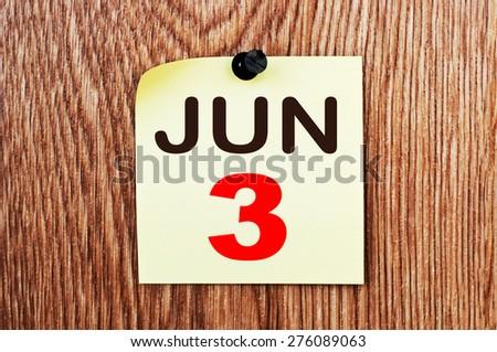 June 3 Calendar. Part of a set - stock photo