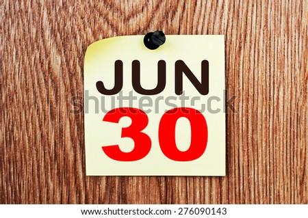 June 30 Calendar. Part of a set - stock photo