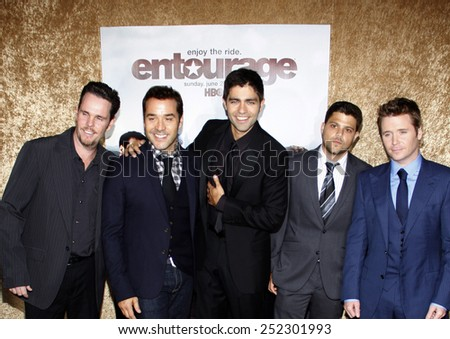 """June 16, 2010. Kevin Dillon, Jeremy Piven, Adrian Grenier, Jerry Ferrara and Kevin Connolly at the Season 7 premiere of """"Entourage"""" held at the Paramount Pictures Studios, Hollywood.  - stock photo"""