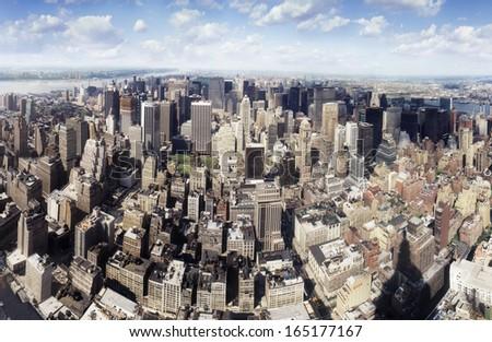 JUNE 1999 - NEW YORK: panorama of the skyline of Midtown Manhattan, New York. - stock photo