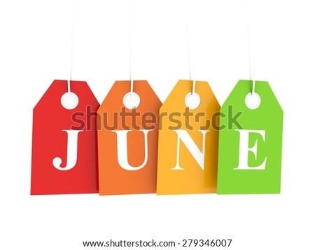 June tag on colored hanging labels. June discounts - stock photo