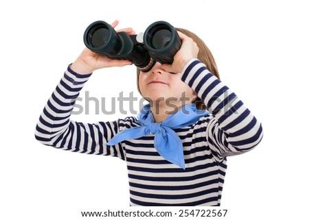 Jung looking through binoculars - stock photo