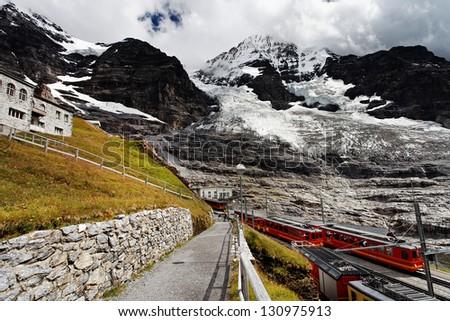 Jungfrau Bahn in Eiger Glacier Railwaystation, Berner Oberland, Switzerland - stock photo