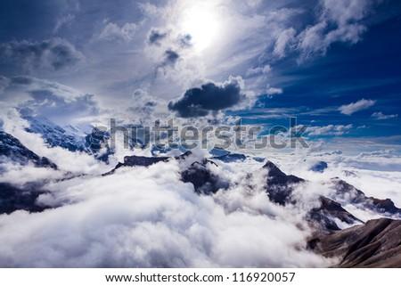 Jungfrau Peak, Switzerland, UNESCO Heritage, Top of Europe - stock photo