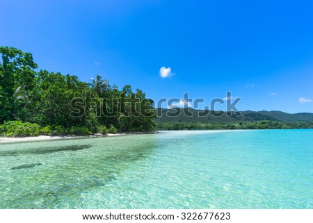 Jungle and deserted tropical beach with clear turquoise water and blue sky, Ishigaki Island of the Yaeyama Islands, Okinawa, Japan - stock photo