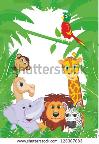 Jungle Animals Frame with copy space - stock photo