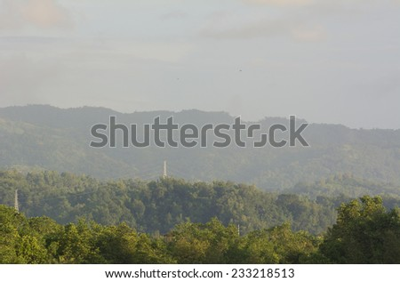 Jungle covred mountains on the island of Panay in central visayas in the Philippines - stock photo