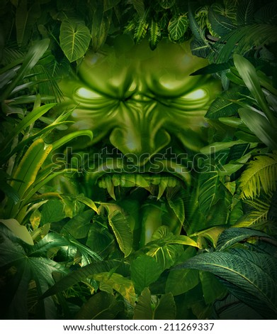 Jungle fear nightmare concept as a scary monster head emerging out from a dark tropical rain forest as a symbol of risk and exploration danger. - stock photo