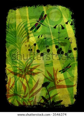 Jungle illustration in vibrant colors with vegetation and dragonfly - stock photo