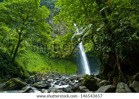 Jungle Waterfall in Costa Rica - stock photo