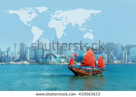 junk boat at Hong Kong harbour with map - stock photo
