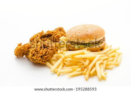 Junk food isolated on white - stock photo