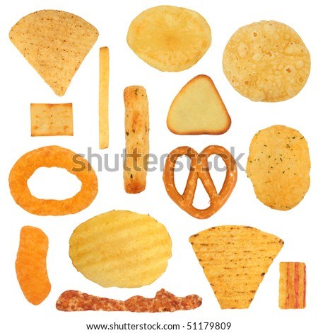 Junk food  snack selection, isolated over white background. - stock photo