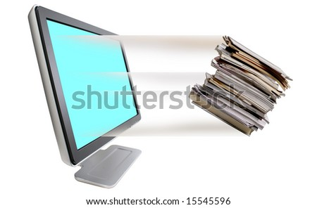 Junk  leaving out of computer monitor - stock photo