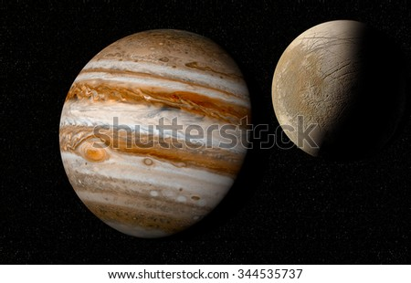 jupiter and moon europa Elements of this image furnished by NASA  - stock photo