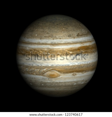 Jupiter, isolated on black. Elements of this image furnished by NASA. - stock photo