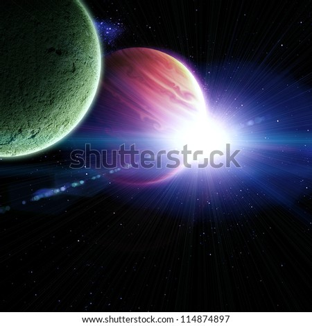 Jupiter with a flash of sun, abstract cosmic background - stock photo