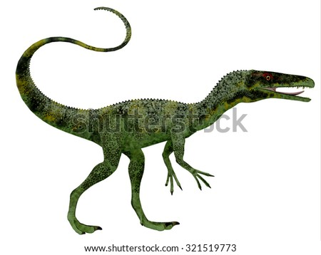Juravenator Dinosaur Profile - Juravenator was a small carnivorous dinosaur that lived in Germany during the Jurassic Period. - stock photo