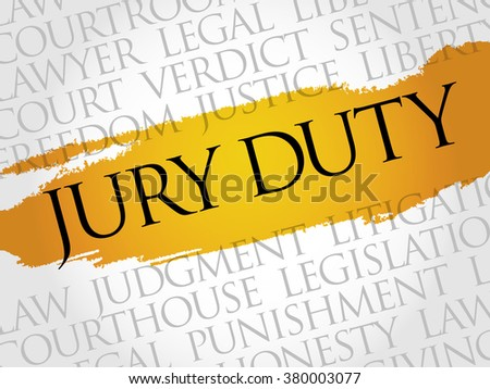 Jury Duty word cloud concept - stock photo