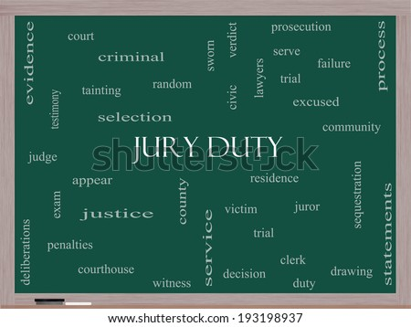 Jury Duty Word Cloud Concept on a Blackboard with great terms such as appear, serve, juror and more. - stock photo