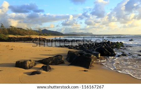 Just after the sunrise on the beach in Kauai. - stock photo