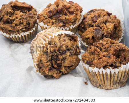 Just baked golden blueberry muffins, - stock photo