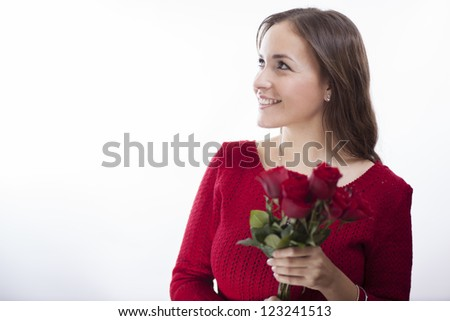 Just got flowers on valentine's day! - stock photo