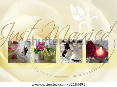 Just married card with bride,  bridegroom and rose - stock photo