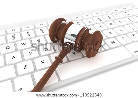 Justice Gavel and keyboard on a white background - stock photo
