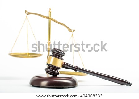 Justice of scale with white background. - stock photo