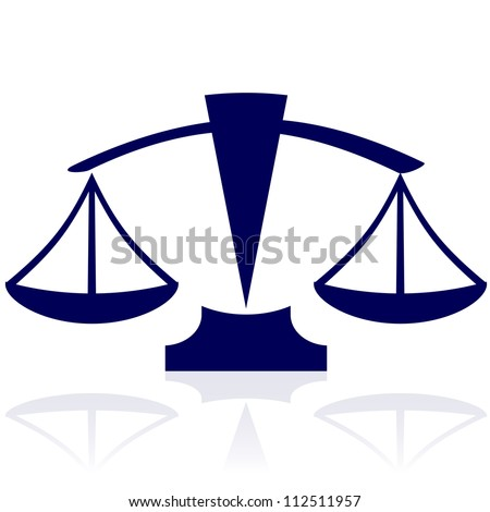 Justice scales - vector blue icon - stock photo