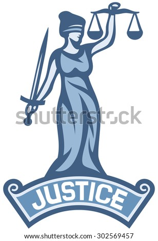 justice statue label (scales of justice symbol, lady justice - a goddess of justice) - stock photo