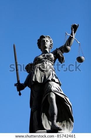 Justice woman in Frankfurt - stock photo