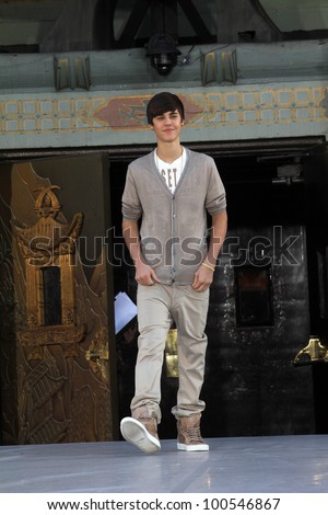 Justin Bieber at Michael Jackson Immortalized at Grauman's Chinese Theatre, Hollywood, CA 01-26-12 - stock photo