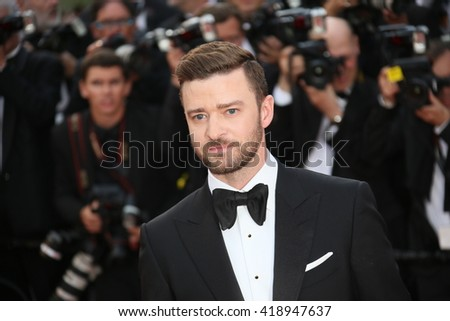 Justin Timberlake attends the 'Cafe Society' premiere and the Opening Night Gala during the 69th Cannes Film Festival at the Palais des Festivals on May 11, 2016 in Cannes, France. - stock photo