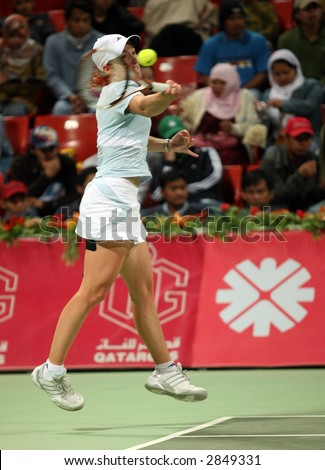Justine Henin on her way to winning the Qatar Total Open, March 2007 - stock photo