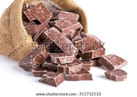 Jute bag with pieces of chocolate isolated over white - stock photo