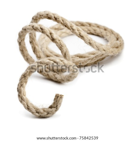 Jute rope on white - stock photo