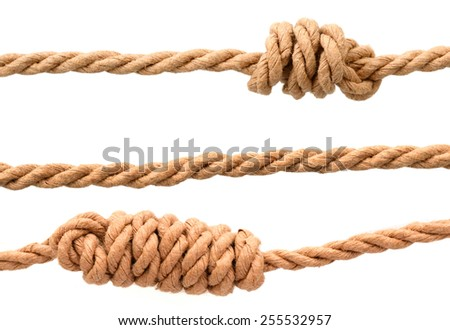 jute ropes with knot isolated on white background - stock photo