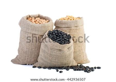 Jute sacks with dried pea and legume beans isolated on white background - stock photo