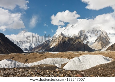 K2 and Broad Peak from Concordia in the Karakorum Mountains, Pakistan - stock photo