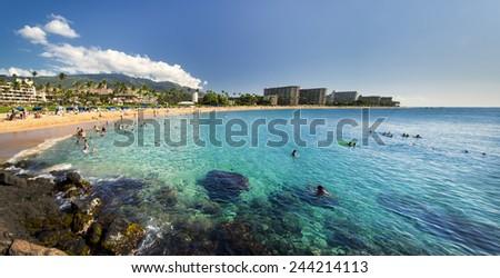 Kaanapali Beach from Black Rock, Maui, Hawaii - stock photo