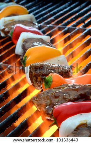 Kabob on BBQ grill with hot flames - stock photo