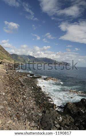 Kaena Point wavebreak, Oahu, vertical - stock photo