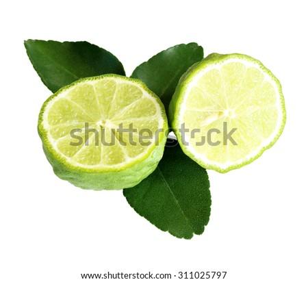 Kaffir lime (Bergamot) isolated on white background - stock photo