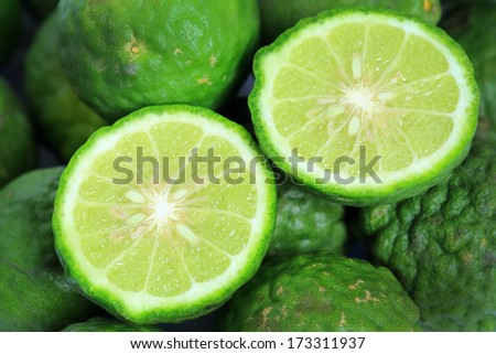 Kaffir Lime is a fruit native to Indochinese. - stock photo