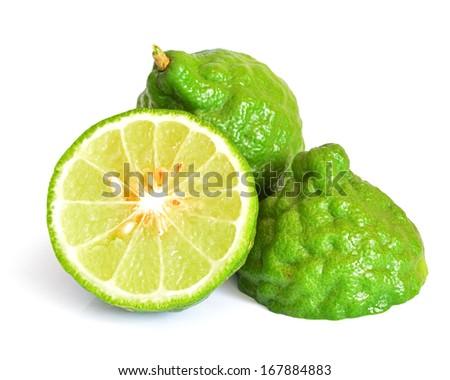 Kaffir lime isolated white background. - stock photo