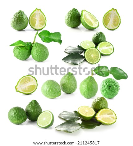Kaffir Lime with leaves isolated on white background - stock photo